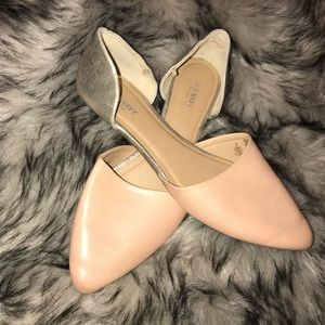 Nude and Metallic Gold Pointed toe flats